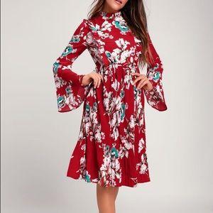 Lulus Wine Red Floral Print Pleated Midi Dress